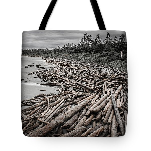 Shoved Ashore Driftwood  Tote Bag by Roxy Hurtubise