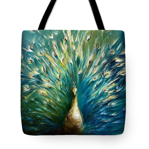 Tote Bag featuring the painting Show Off 3 White Peacock by Dina Dargo