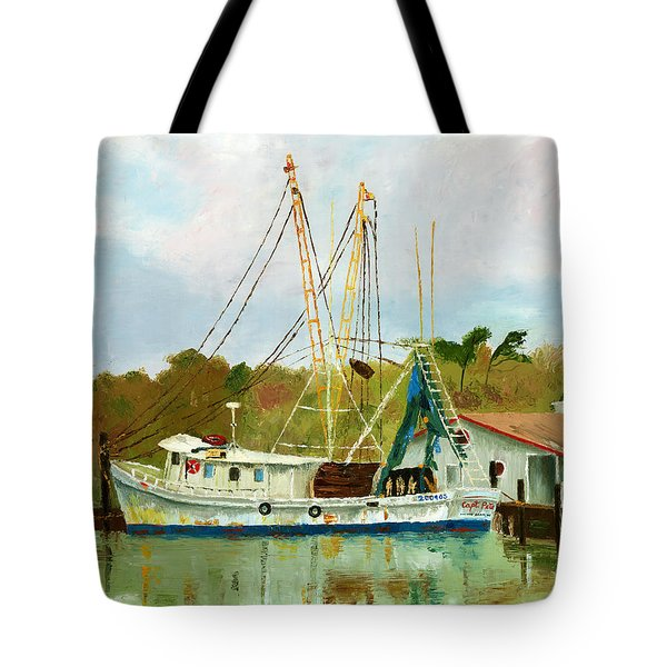 Shrimp Boat At Dock Tote Bag