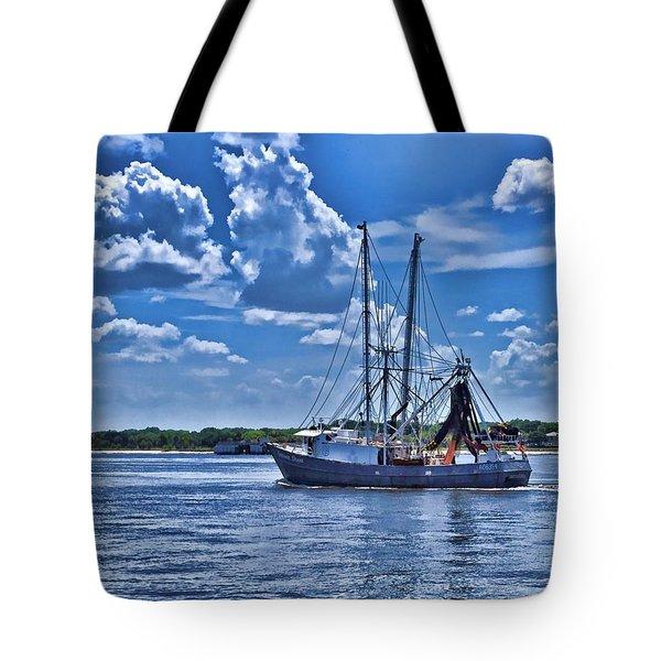 Shrimp Boat Heading To Sea Tote Bag
