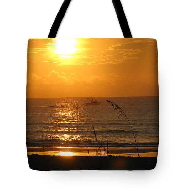 Shrimp Boat Sunrise Tote Bag
