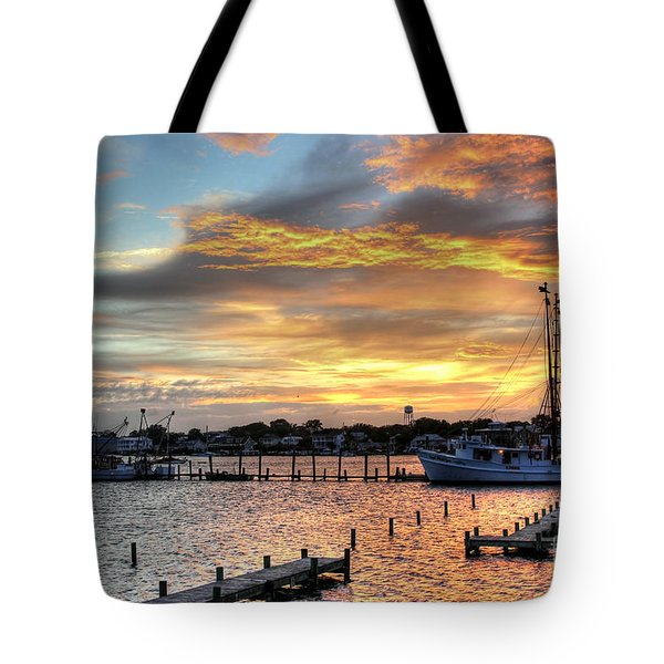 Shrimp Boats At Sunset Tote Bag by Benanne Stiens