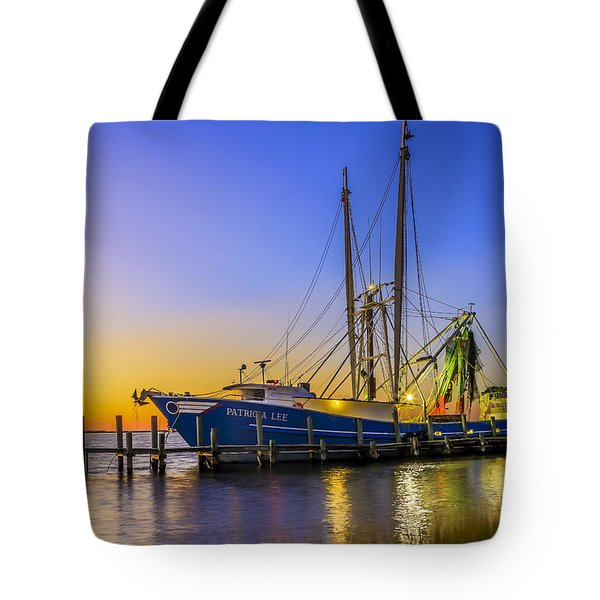 Tote Bag featuring the photograph Shrimp Boat Sunset by Paula Porterfield-Izzo
