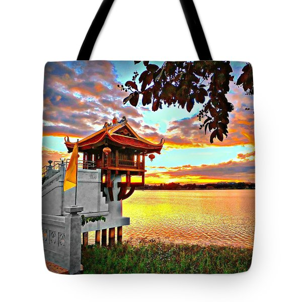 Shrine On The Lake. Tote Bag
