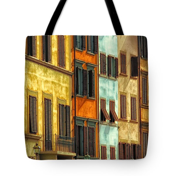 Shuttered Windows Of Florence Tote Bag by Mike Nellums