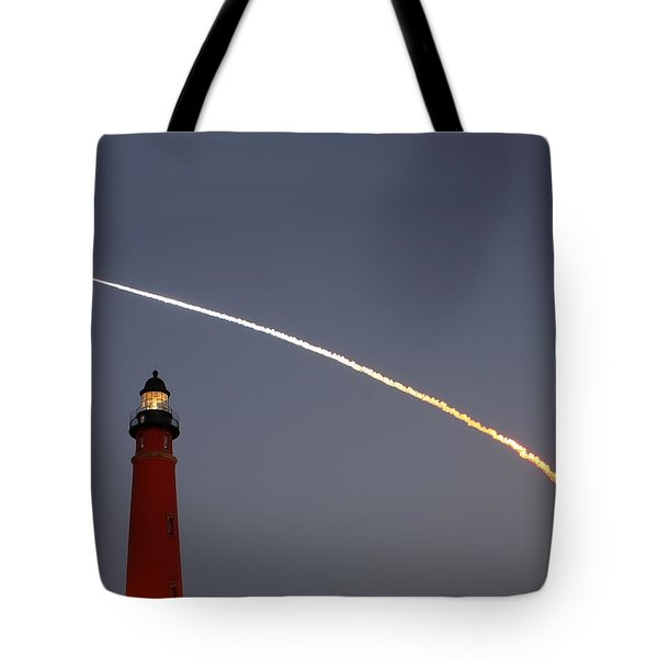 Tote Bag featuring the photograph Shuttle Discovery Liftoff Over Ponce Inlet Lighthouse by Paul Rebmann