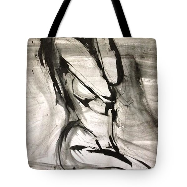 Tote Bag featuring the drawing Shy by Helen Syron