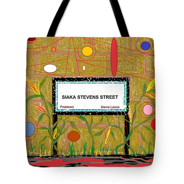 Tote Bag featuring the digital art Siaka Stevens Street - Sierra Leone by Mudiama Kammoh
