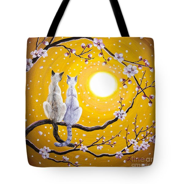 Siamese Cats Nestled In Golden Sakura Tote Bag by Laura Iverson