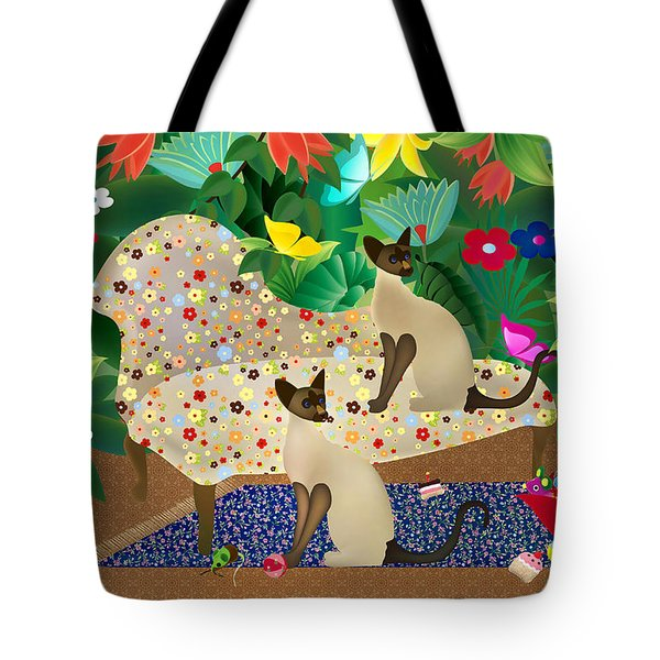Siameses En Chaise Con Flores Limited Edition 2 Of 15 Tote Bag by Gabriela Delgado