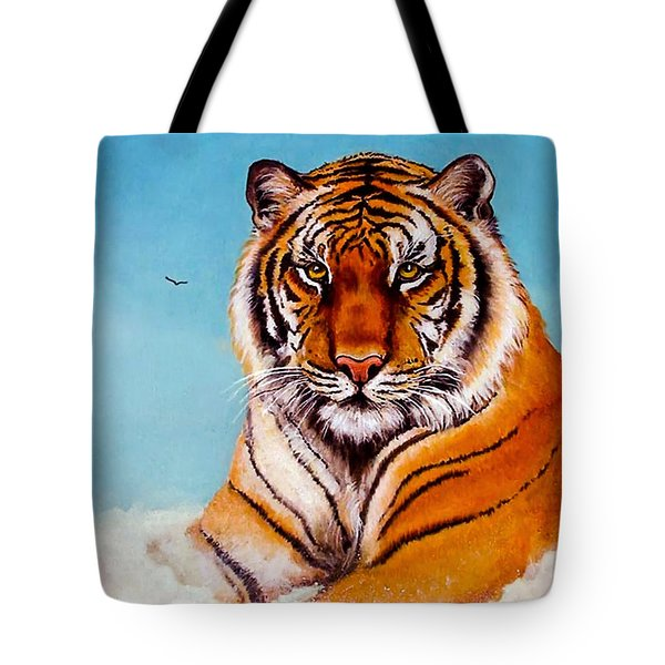 Tote Bag featuring the painting Siberian King Tiger by Bob and Nadine Johnston