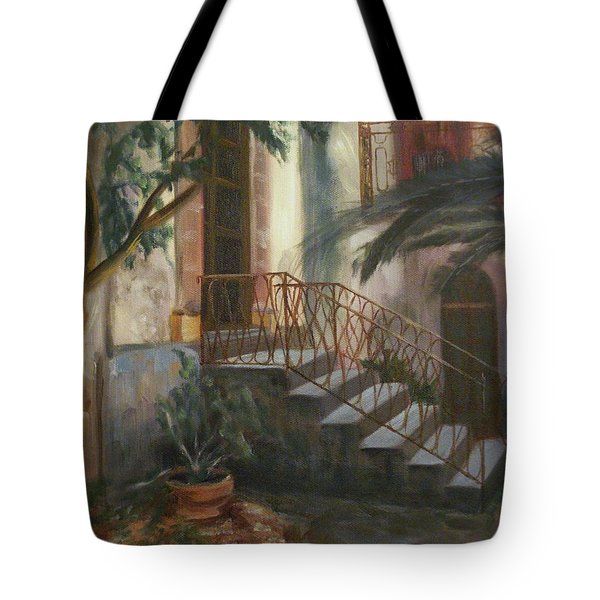 Tote Bag featuring the painting Sicilian Nunnery by Donna Tuten