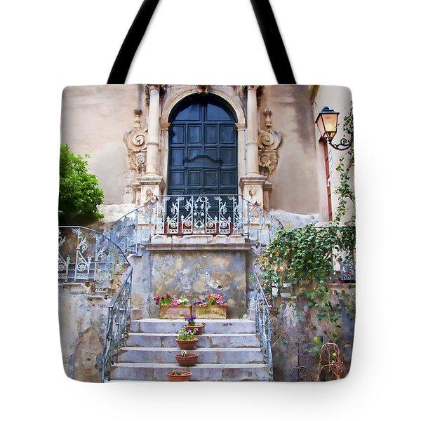 Sicilian Village Steps And Door Tote Bag by David Smith