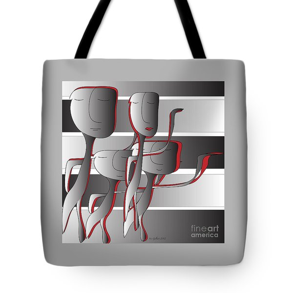 Tote Bag featuring the digital art Side By Side by Iris Gelbart
