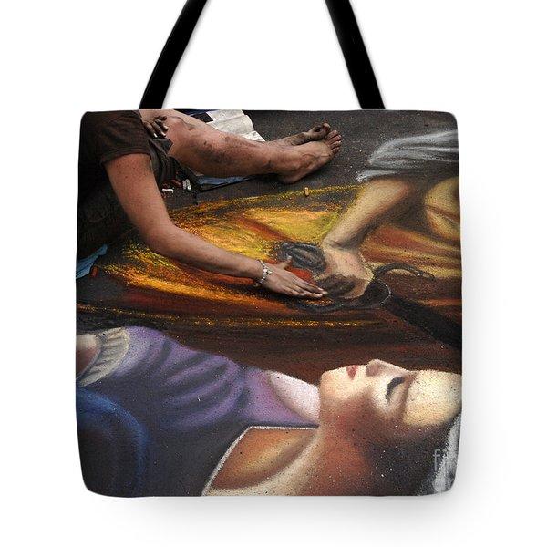 Sidewalk Art 3 Tote Bag by Bob Christopher