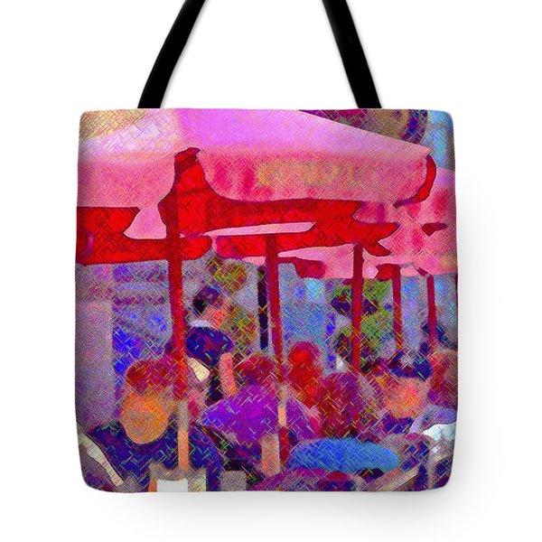 Sidewalk Cafe Digital Painting Tote Bag