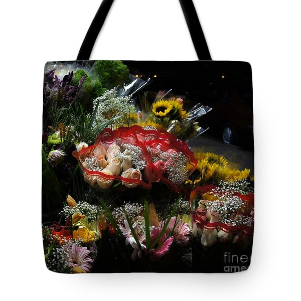 Tote Bag featuring the photograph Sidewalk Flower Shop by Lilliana Mendez