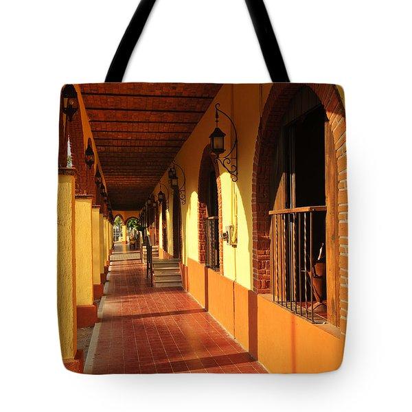 Sidewalk In Tlaquepaque District Of Guadalajara Tote Bag by Elena Elisseeva