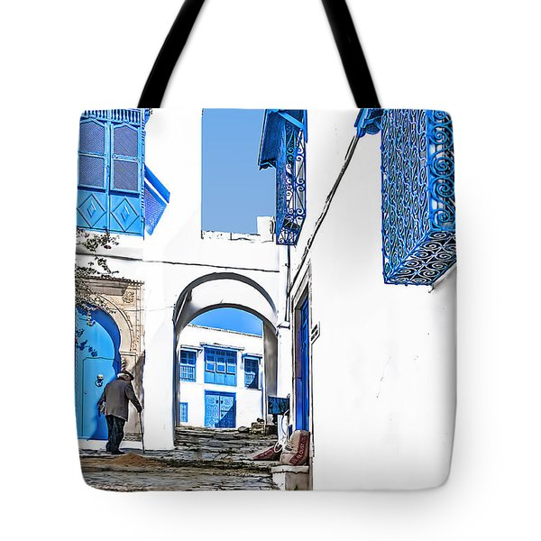 Old Man On Stairs Tote Bag