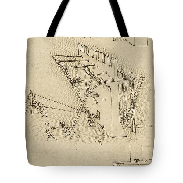 Siege Machine In Defense Of Fortification With Details Of Machine From Atlantic Codex Tote Bag by Leonardo Da Vinci