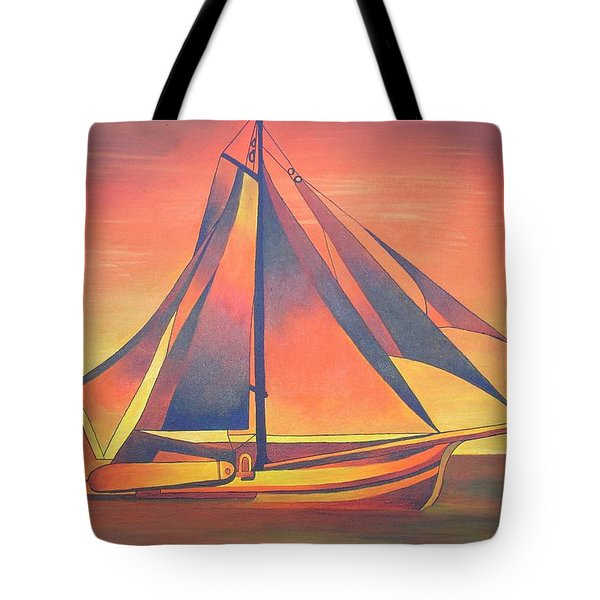 Tote Bag featuring the painting Sienna Sails At Sunset by Tracey Harrington-Simpson