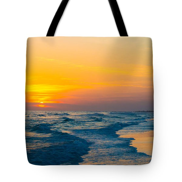 Siesta Key Sunset Walk Tote Bag by Susan Molnar