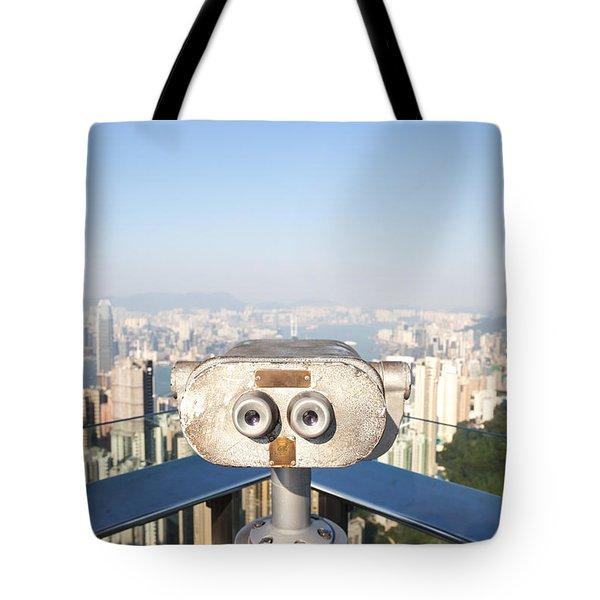 Sightseeing Binoculars On Victoria Peak Hong Kong Tote Bag