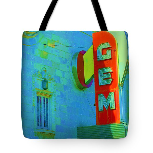 Sign - Gem Theater - Jazz District  Tote Bag by Liane Wright