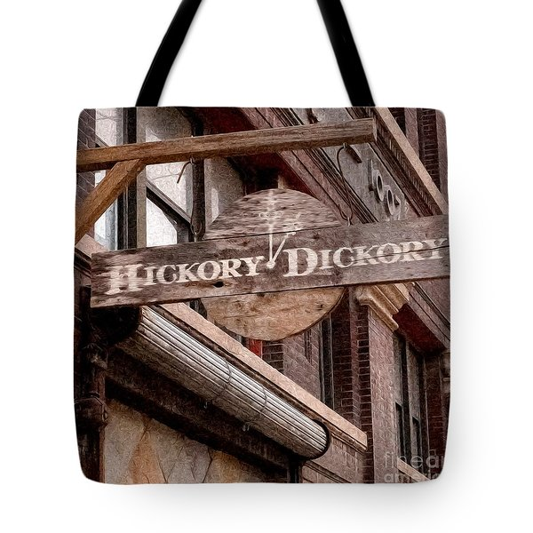 Sign - Hickory Dickory - West Bottoms Tote Bag by Liane Wright