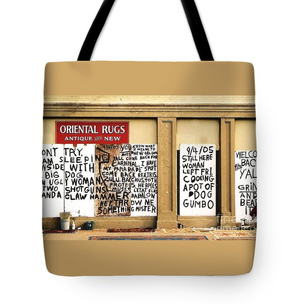 Tote Bag featuring the photograph Sign Of Distress Post Hurricane Katrina Message by Michael Hoard