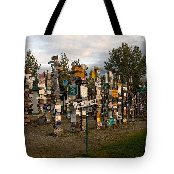 Sign Post Forest Tote Bag by Mark Newman