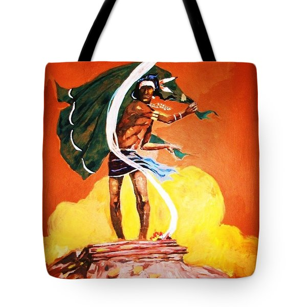 Tote Bag featuring the painting Signal From The Mesa by Al Brown