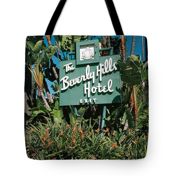 Signboard Of A Hotel, Beverly Hills Tote Bag by Panoramic Images
