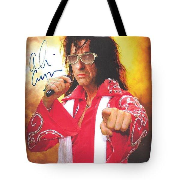 Signed Photo Of Alice Cooper In Costume S Elvis Presley Tote Bag