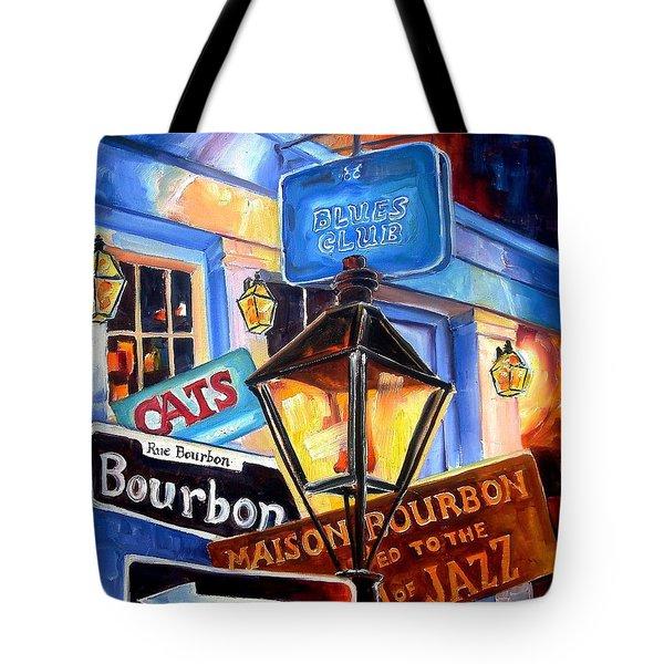 Signs Of Bourbon Street Tote Bag by Diane Millsap