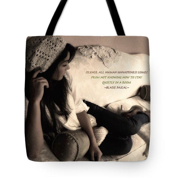 Silence Tote Bag by Kristie  Bonnewell