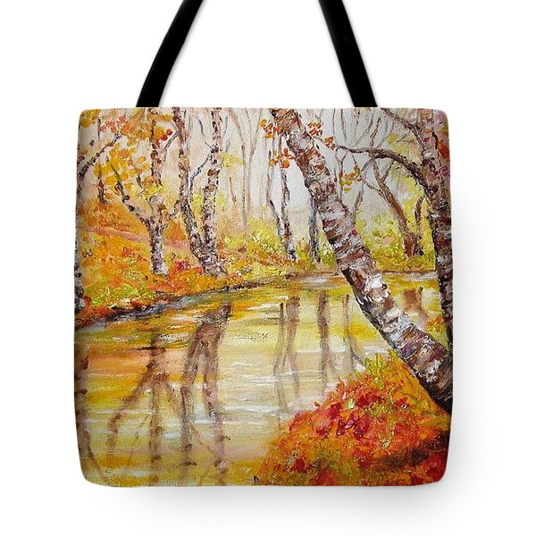 Tote Bag featuring the painting Silence by Nina Mitkova