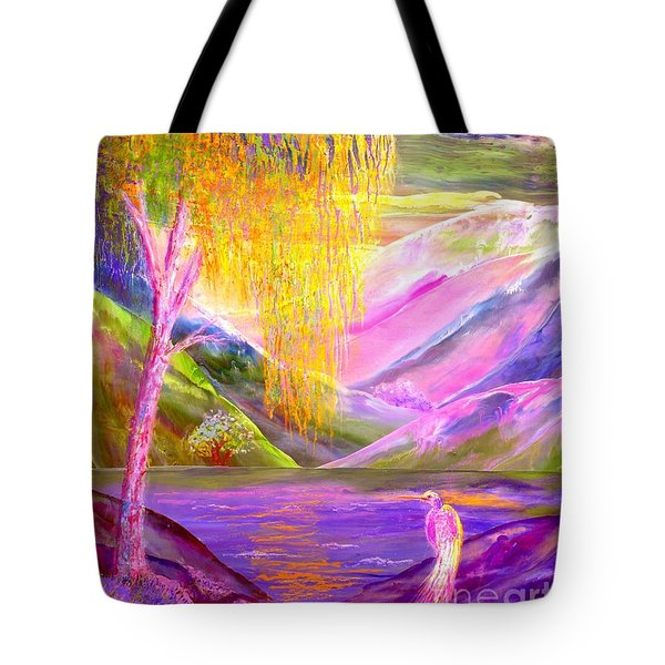 Silent Waters, Silver Birch And Egret Tote Bag