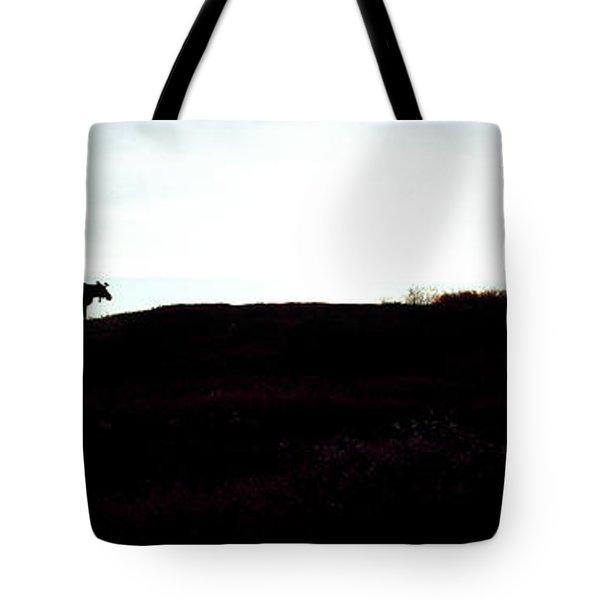 Silhouette Of A Moose On Ridge, Denali Tote Bag