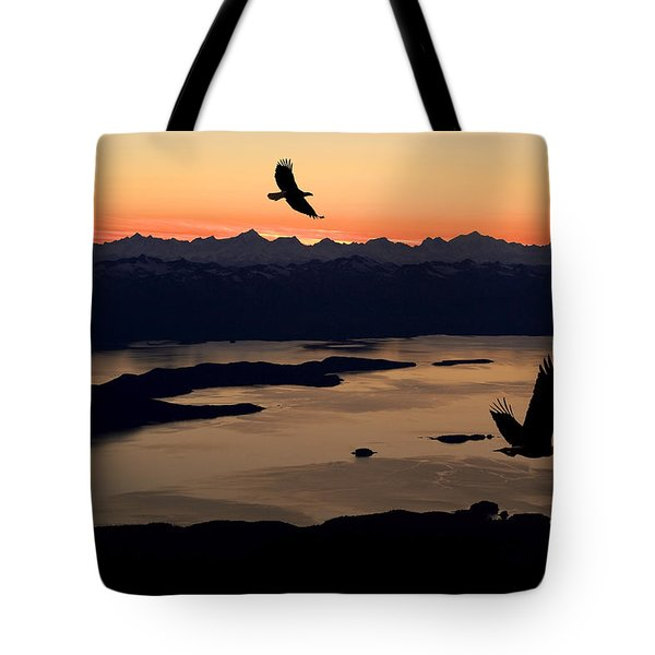 Silhouette Of Bald Eagles In Flight At Tote Bag