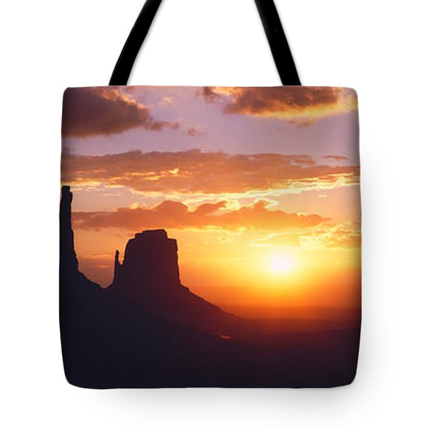 Silhouette Of Buttes At Sunset, The Tote Bag by Panoramic Images
