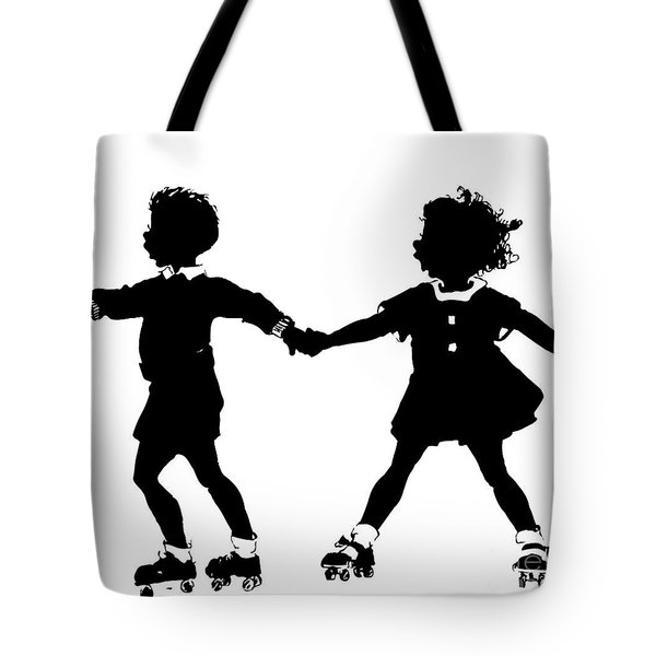 Silhouette Of Children Rollerskating Tote Bag