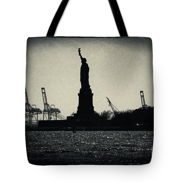 Silhouette Of Miss Liberty Tote Bag by Sabine Jacobs