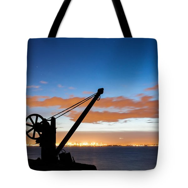 Silhouette Of The Davit In Dublin Port Tote Bag by Semmick Photo