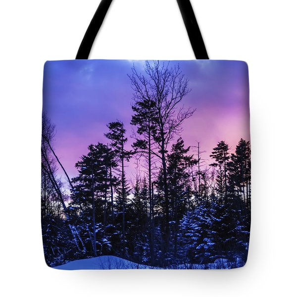 Silhouette Of Trees During A Colourful Tote Bag by Jacques Laurent
