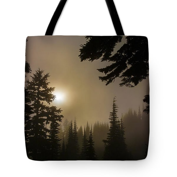 Silhouettes Of Trees On Mt Rainier II Tote Bag