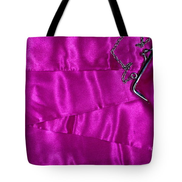 Tote Bag featuring the photograph Silk Background With Purse by Gunter Nezhoda
