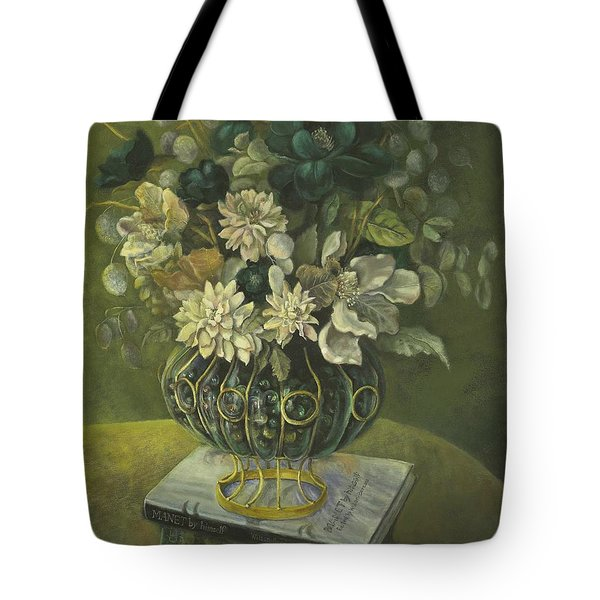 Silk Floral Arrangement Tote Bag by Marlene Book