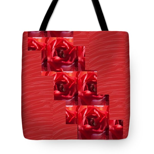 Tote Bag featuring the photograph Silken Red Sparkles Redrose Across by Navin Joshi