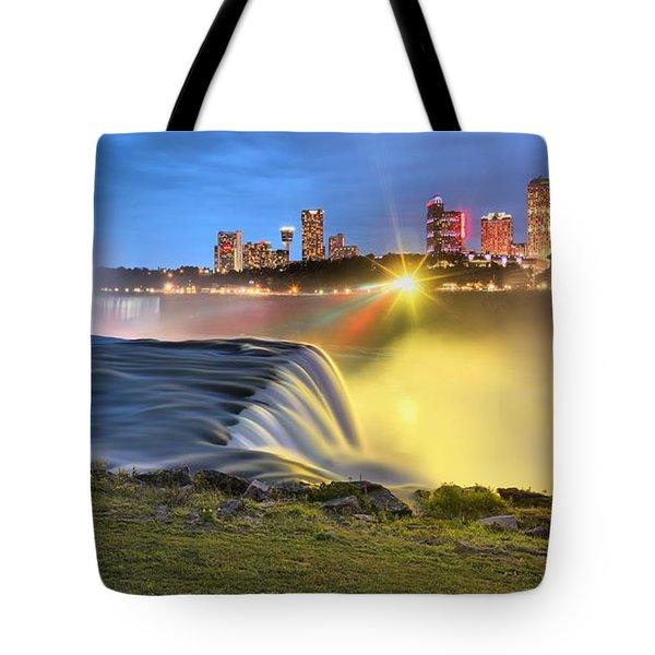 Silky Niagara Falls Panoramic Sunset Tote Bag